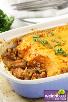 Healthy Dinner Recipes: Sweet Potato Shepherds Pie. #HealthyRecipes #DietRecipes #WeightlossRecipes weightloss.com.au