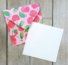 Blank Fruit Cards Party Favor Cards Gift Card Holders Cherry Note Cards Enclosure Cards Small Cherry Envelopes Patterned Envelopes