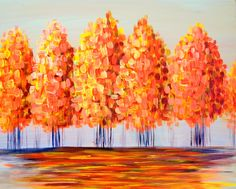This shining golden glade of trees brings you back to bright memories of sunny afternoons #trees #forest #nature #earth #natural #art #paintandsip