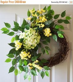 ❘❘❙❙❚❚ ON SALE ❚❚❙❙❘❘Price already marked down!     Green Hydrangeas Yellow Flowers Ficus Leaves Wreath, Summer Cottage wreath  Dimensions: approx 26x 28 ( outside diameter - will extend more) and 6-7 deep Unique and one-of-a-kind wreath! READY to SHIP!  We create a jute loop on the back of the wreath for easy hanging from a hook, nail, or wreath hanger. It will be shipped in a cardboard box that can also be used for storage.  Shipping & Handling -- US domestic shipping only with FedEx&#x...