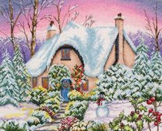 free cross stitch patterns   snowy cottage cross stitch free pattern download free now information ...