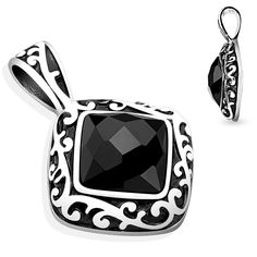 Diamond Filigree with Faceted Black Square CZ Pendent