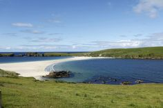 St Ninian's Isle, joined to Mainland by a tombolo of sand at Bigton, Shetland.