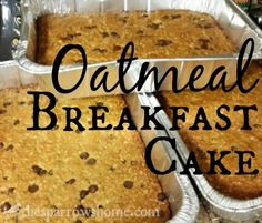 These oatmeal chocolate chip breakfast cakes are an easy, frugal, and satisfying way to cook breakfast for a crowd (or your family!)