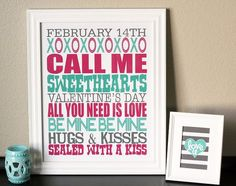 Valentine's Day Subway Art. Free printable from eighteen25.com - love the little Love U printable too!!