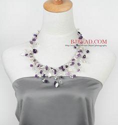 Verano 2013 nuevo diseño de la perla blanca de agua dulce y cristalina y amatista collar de la forma del árbol