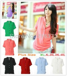 Brand fashion 4xL Candy color Korea style Chiffon 3XL Blouse top shirt T-shirt plus size xxxxl xxxl 2013 for women's female HD02 $11.88 - 13.88