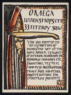 A private view card probably designed by Duncan Grant for the opening exhibition at the Omega Workshops in 1913.