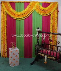 Decor by Krishna AP/ Telangana/ Karnataka/ Tamilnadu/ USA/Australia Engagement Stage Decoration, Naming Ceremony Decoration, Wedding Ceremony Backdrop, Ceremony Decorations, Backdrop Decorations, Flower Decorations, Backdrops, Girl Birthday Decorations, Baby Shower Decorations