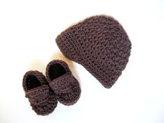 Organic Baby Boy Crochet Hat and Loafers by LemonLaneOrganics, $32.00
