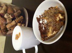 Banana bread pudding and honey latte.