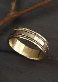 two tone gold unique wedding band by WeddingRingsStore, Mens gold wedding band, Two color gold ring, Mens filigree gold ring, Unique gift for men Mens Gold Rings, Diamond Wedding Rings, Bridal Rings, Wedding Bands, Round Cut Diamond Rings, Diamond Bands, Accesorios Casual, Alternative Engagement Rings, Engagement Rings For Men