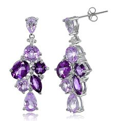 Glitzy Rocks Sterling Silver African Amethyst and White Topaz Cluster Tonal Dangle Earrings (Amethyst), Purple, Size Small