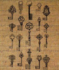 Lots of Ornate Antique Keys Digital Image Download Transfer To Pillows Tote Tea Towels Burlap No. 1750