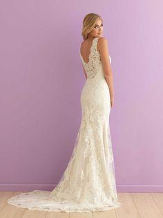 ivory lace sheath v neck sleeveless wedding dress