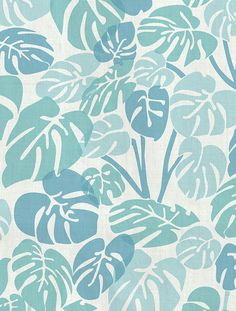Want summer all year round? This monstera deliciosa leaf pattern brings the jungle into your home! Deliciosa Designer Fabric by Aimée Wilder. Materials: Cotton Sailcloth, Fine B Surface Pattern Design, Pattern Art, Textile Patterns, Print Patterns, Textiles, Motif Floral, Art Design, Beautiful Patterns, Pattern Wallpaper