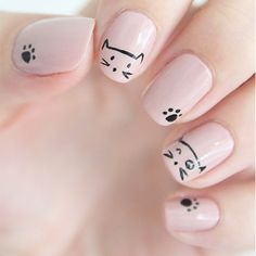 If you're looking to do seasonal nail art, spring is a great time to do so. The springtime is all about color, which means bright colors and pastels are becoming popular again for nail art. These types of colors allow you to create gorgeous nail art. Cat Nail Art, Animal Nail Art, Cat Nails, Nail Art Diy, Pink Nails, Nude Nails, Coffin Nails, Cute Kids Nails, Nails For Kids