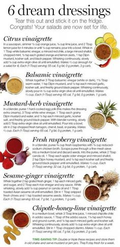 6 Dream Dressings via silentnod.files.wordpress: Yummy! (Source unknown.) #Salad_Dressings