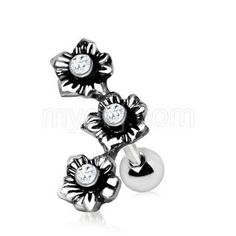 Stainless Steel Triple Flower Cartilage Earring Crafted from Stainless Steel, this elegant piece of jewelry features 3 beautiful flowers with Clear CZ perfectly inlaid in the center of each Cute Cartilage Earrings, Upper Ear Earrings, Conch Piercing Jewelry, Piercing Cartilage, Helix Jewelry, Barbell Earrings, Conch Earring, Round Earrings, Ear Peircings