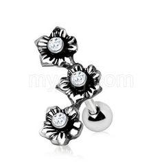 316L Stainless Steel Triple Flower Cartilage Earring