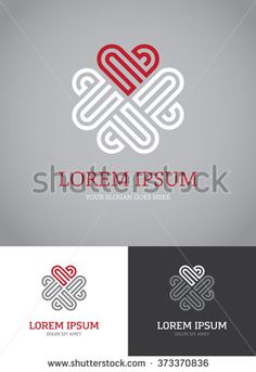 Abstract linear geometric logo with heart for love, beauty, health care or other business concept
