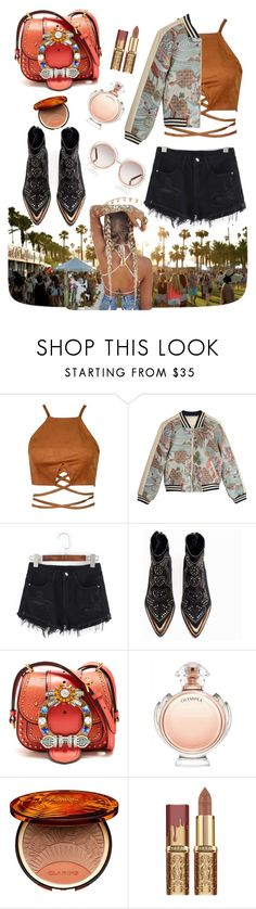 """""""🎼"""" by beelovem ❤ liked on Polyvore featuring Maje, Zadig & Voltaire, Miu Miu, Paco Rabanne, Clarins and Chloé"""