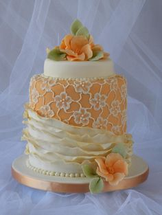 Lace and ruffles cake  www.tablescapesbydesign.com https://www.facebook.com/pages/Tablescapes-By-Design/129811416695