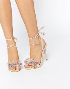 Daisy Street Blush Pom Ghillie Lace Up Heeled Sandals