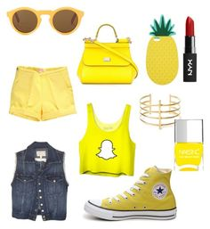 """""""Snapchat look"""" by izzybelle717 on Polyvore featuring Current/Elliott, Converse, Dolce&Gabbana, Miss Selfridge, BauXo and Nails Inc."""