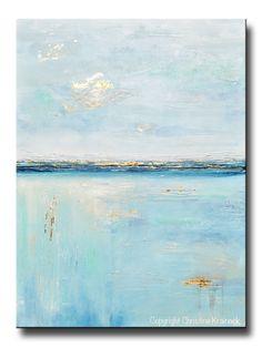ORIGINAL Art Blue Abstract Painting Seascape Ocean Aqua Blue Gold Leaf Textured Coastal Decor Wall Art - Christine Krainock Art - Contemporary Art by Christine - 1