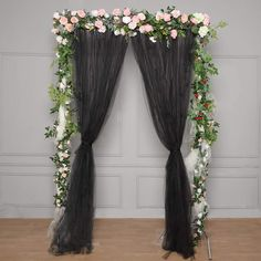 5 FT x 10 FT - Double Sided Tulle Backdrop Sheer Curtain Panels with Satin Rod Pockets - Black Wide Curtains, Tulle Curtains, Sheer Curtain Panels, Tulle Fabric, Panel Curtains, Tent Decorations, Engagement Party Decorations, Balloon Decorations Party, Tulle Backdrop