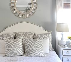 gray & white bedroom with mixed patterns | centsational girl bed linens #mirror