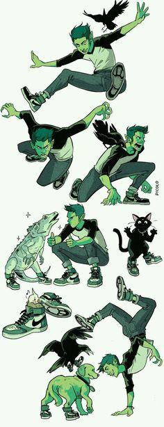 Art by Gabriel Picolo Teen Titans Beast Boy Teen Titans Go, Teen Titans Fanart, Teen Titans Characters, Teen Titans Raven, Fan Art, Comic Character, Character Design, Gabriel Picolo, Raven Beast Boy