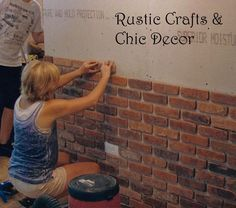 Interesting DIY brick wall (how to install a brick wall: Rustic Crafts & Chic Décor I can have the exposed brick look. Cheap Home Decor, Diy Home Decor, Room Decor, Brick Veneer Wall, Fake Brick Wall, Exposed Brick Walls, Brick Tile Wall, Brick Wall Decor, Bar Deco