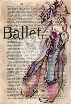 Ballet Shoes Mixed Media Drawing on Distressed, Dictionary Page - flying shoes art studio - available at Etsy/com/shop/flyingshoes