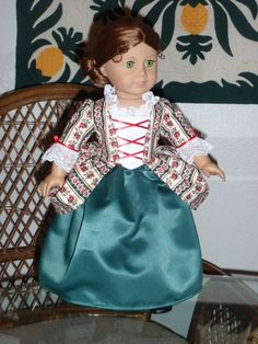 1770s Colonial Holiday Gown Dress & Cap for American Girl Felicity Elizabeth 18 inch doll