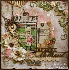 """""""Capture the Moment"""" layout in taupes and ivories and browns with hints of pink."""