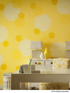 What a fun idea for a wall! (Valspar Cantaloupe Smile & Spring Squash)