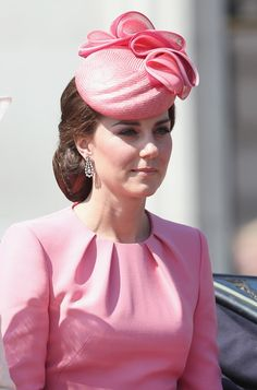 Catherine, Duchess of Cambridge arrives for the annual Trooping The Colour parade on June 17, 2017 in London.