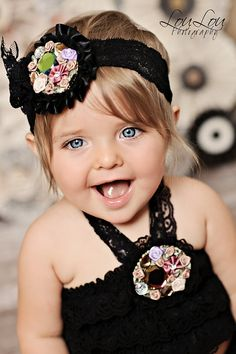 Black Gem Floral Lace Headband from The Couture Baby