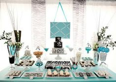 Turquoise with zebra print party. michellepaige Turquoise with zebra print party. Turquoise with zebra print party. Tiffany Theme, Tiffany Party, Azul Tiffany, Tiffany Wedding, Zebra Party, Blue Party, Party Party, Teen Birthday, Birthday Parties