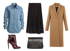 Chambray is instantly more sophisticated when it's matched with a black lace midi skirt. Keep the theme going with a long camel overcoat and bordeaux booties.