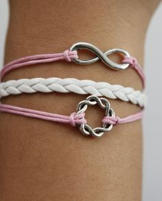 Infinity Wish Ring Karma silver white braided  leather bracelet,Pink wax cord bracelet in any size bracelet-. $4.19, via Etsy.