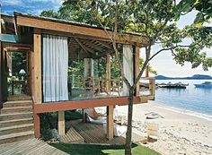 Ideas for house beach architecture bungalows Tiny House Cabin, My House, Dream Beach Houses, Beach Bungalows, Beach Shack, Small House Plans, Tropical Houses, Beach Cottages, House In The Woods