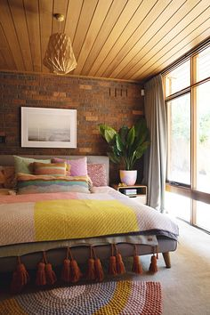 bedroom Colorful Australian Art Enlivens This All-Brick House: gallery image 21 Minimalism Living, Living Room Cushions, Interior Decorating, Interior Design, Interior Plants, Guest Bedrooms, Eclectic Decor, My New Room, Home Decor Bedroom