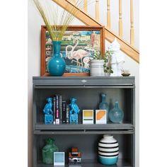 Image of Metal 3-Shelf Barrister Bookcase Cabinet