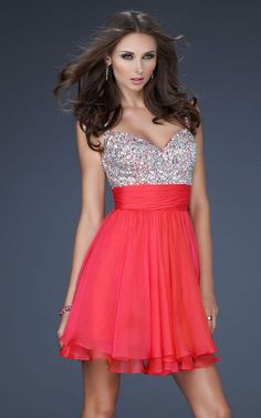 Watermelon La Femme Style 16813 Short Chiffon Prom Dress  PRICE: $146.99  Cute short, fully embellished top dress with layered chiffon skirt. Great after prom party dress. Fabric: Poly Chiffon    Style: 16813    Show In: Watermelon  http://www.lafemmestyledressoutlet.com/watermelon-la-femme-style-16813-short-chiffon-prom-dress-p-40.html