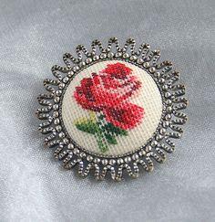 Vintage Petit Point Brooch Pin Small by CamanoIslandVintage, $18.50