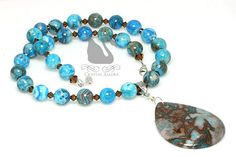 I absolutely LOVE this gemstone! Larimar crazy lace agate beaded gemstone necklace. #crystalallure #jewelry