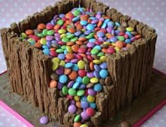 Lollie Fort Cake - Chocolate Cake with Flake Bars and topped with Smarties